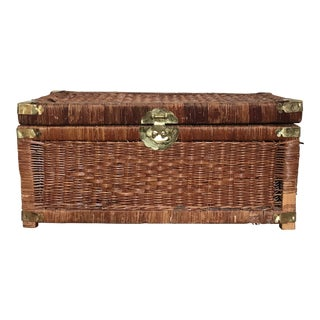 Vintage Brass and Wicker Trunk For Sale