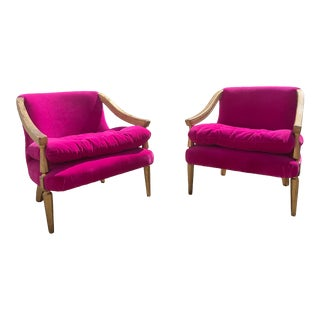 Mid 20th Century Hot Pink Accent Chairs- a Pair For Sale