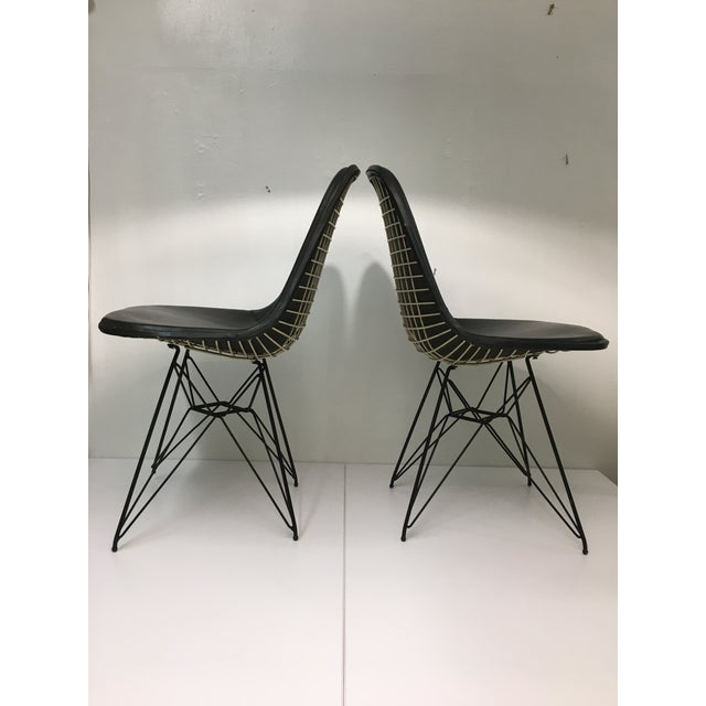 Mid-Century Modern Vintage Eiffel Side Chairs in Black Naugahyde by Charles Eames for Herman Miller - a Pair For Sale - Image 3 of 13