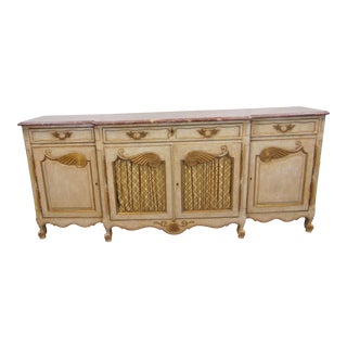 Italian Gilt Painted Marble Top Sideboard For Sale