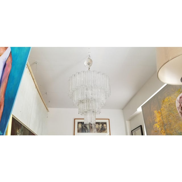 """1970s Vintage Italian """" Tronchi """" Murano Glass Chandelier by Venini. For Sale - Image 5 of 13"""