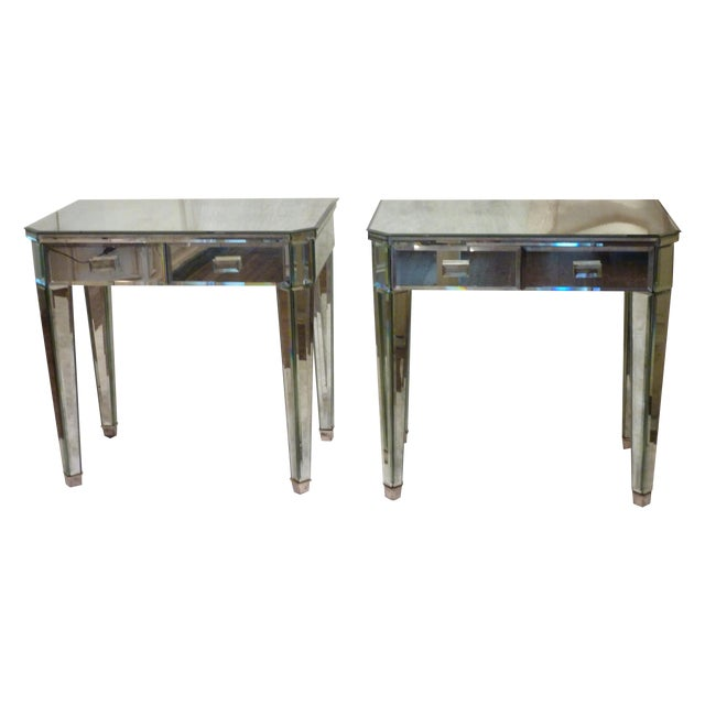 Mirrored Side Tables - A Pair - Image 1 of 10