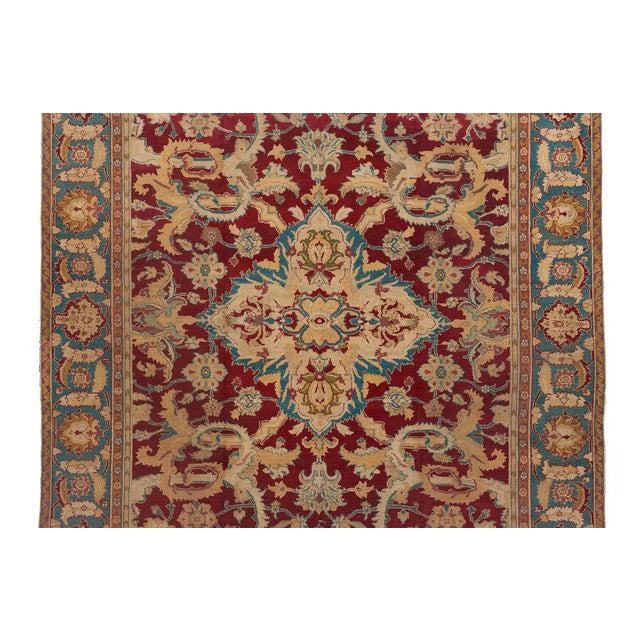 Traditional Red Ground Agra Medallion Carpet For Sale - Image 3 of 4
