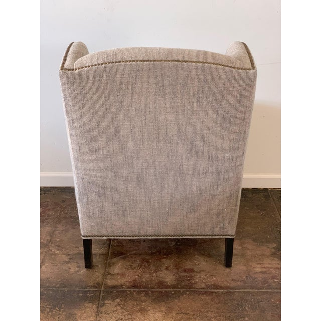 Americana 1960s Vintage Mark Alexander Linen Fabric Wingback Chair For Sale - Image 3 of 9