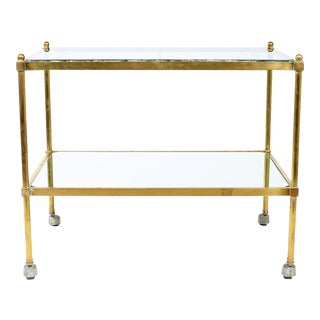 Mid 20th Century Vintage Brass / Glass / Mirror Two-Tiered Bar Cart For Sale