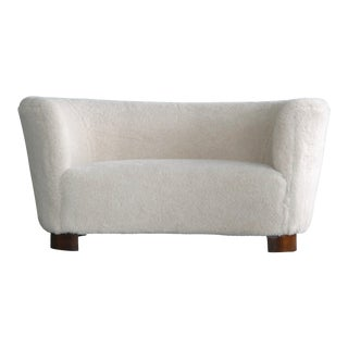 Lambswool Covered Curved Loveseat or Sofa by Slagelse, Denmark, 1940s For Sale