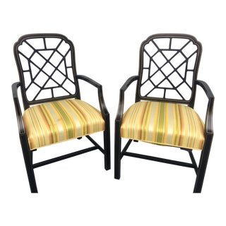 Black Spider Back Arm Chairs - A Pair