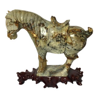 Antique Chinese Carved Jade Tang Horse For Sale