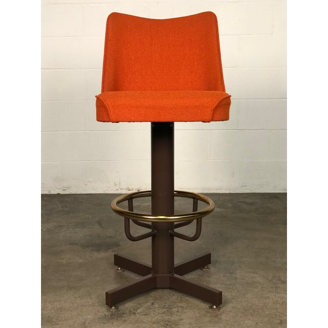 Metal Orange Tweed Mid-Century Modern Bar Stool With Brass Foot Ring ~ Set of 6 For Sale - Image 7 of 11