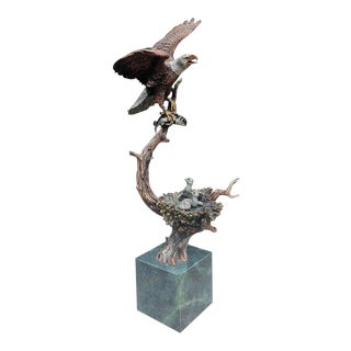 """Sunday Brunch"" Bronze/Marble Eagle Sculpture by Kitty Cantrell For Sale"