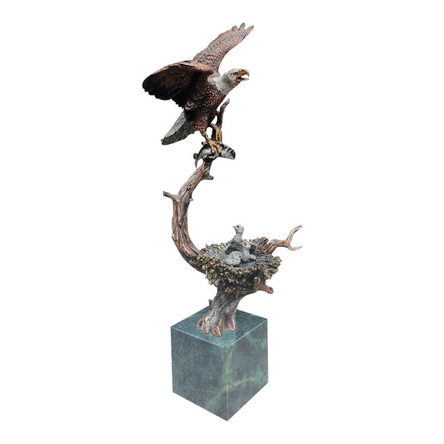 """""""Sunday Brunch"""" Bronze/Marble Eagle Sculpture by Kitty Cantrell For Sale"""