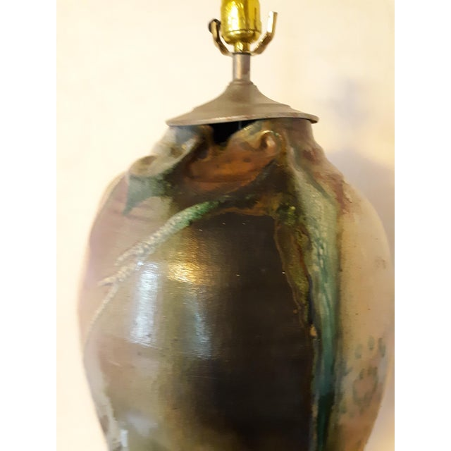 Gray Artist Signed Raku Style 1980s Ceramic Lamp With Shade For Sale - Image 8 of 12