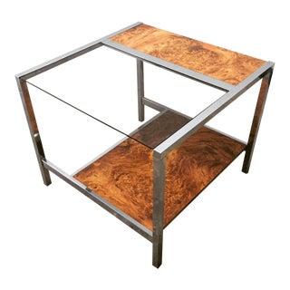 1970s Mid Century Modern Chrome & Burl Laminate End Table For Sale