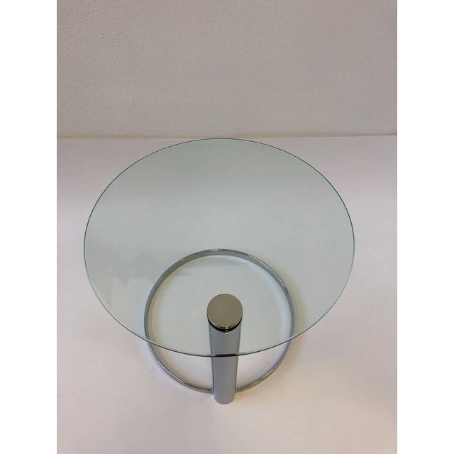 1980s Pair of Chrome and Glass Side Tables by John Mascheroni for Swaim For Sale - Image 5 of 10