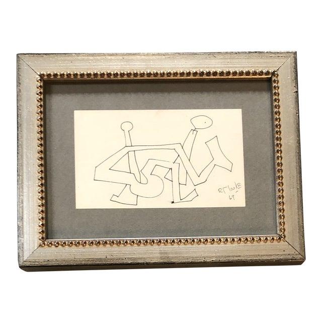 Original Vintage Robert Cooke Miniature Abstract Ink Drawing Framed 1960's For Sale