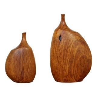 Mid-Century Modern Doug Ayers Carved Teak Sculptural Table Vases Signed 60s - a Pair For Sale