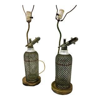 Pair Seltzer Decanter Lamps For Sale