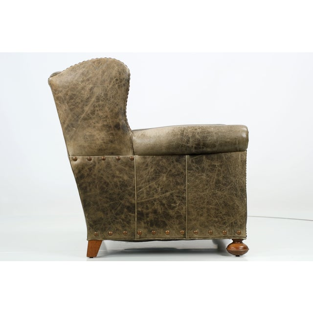 Regency Style Green Leather Club Chair and Ottoman - Image 8 of 11