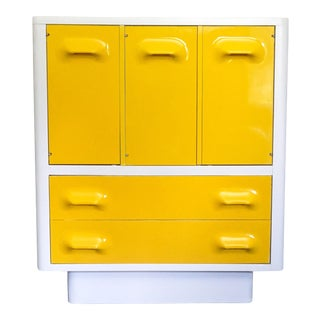 1970s Mid Century Modern Broyhill Premier Chapter One Yellow Armoir Dresser For Sale