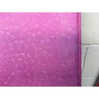 1960s Art Nouveau 'Pretty in Pink' Cushioned Patterned Twin Headboard Preview