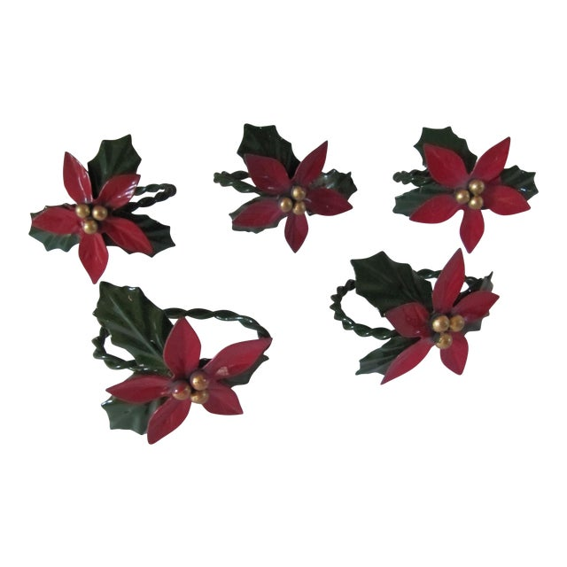 Christmas Holly Berry Napkin Rings-4 Pieces For Sale