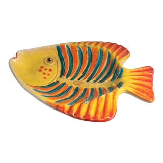 1990s Vintage Italian Ceramic Fish Shaped Dish For Sale