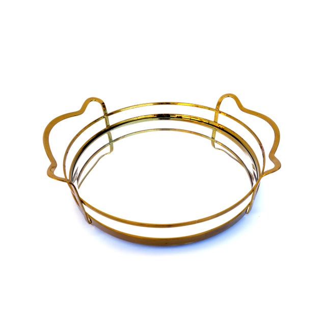 Vintage Hollywood Regency Solid Brass & Mirror Tray - Image 9 of 10