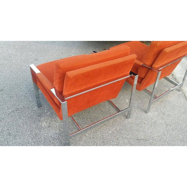 Superior Carsons Vintage Chrome Orange Cube Arm Lounge Chairs A