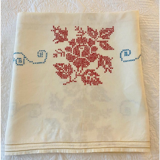 Silk Antique 1930s Cross-Stitched Embroidered Linen Tablecloth For Sale - Image 7 of 7