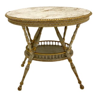 1930s Carved & Painted Rustic French Pine Round Center Table