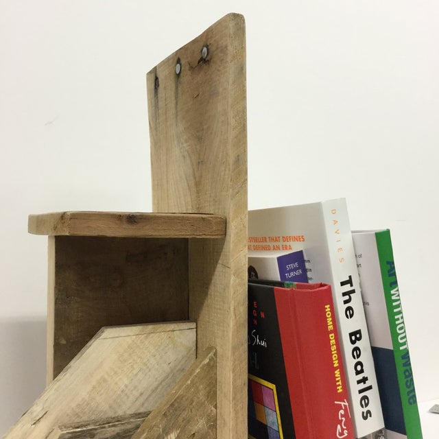 Rustic Industrial Wood Bookend & Display Shelf For Sale - Image 5 of 11
