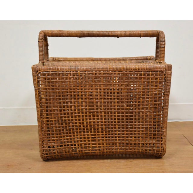 Bamboo & Rattan Magazine Rack For Sale - Image 5 of 8