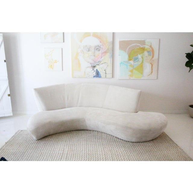 Art Deco 1990s Vintage Kagan Style Velvet Sofa For Sale - Image 3 of 9