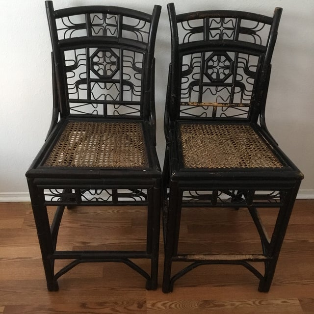 1980s 1980s Vintage Bamboo Bar Stools - A Pair For Sale - Image 5 of 5