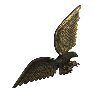 Vintage Brass Flying Eagle Wall Hanging For Sale
