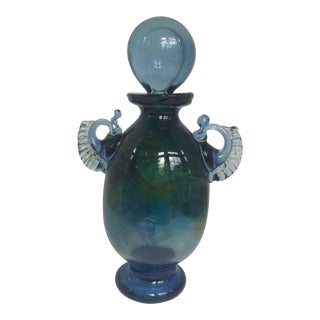 Hand Blown Blue Emerald Art Glass Vessel With Bulbous Stopper For Sale