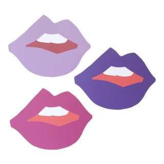 "Large ""Kiss Me"" Ultra Violet Cutout Prints by Angela Chrusciaki Blehm - Set of 3"