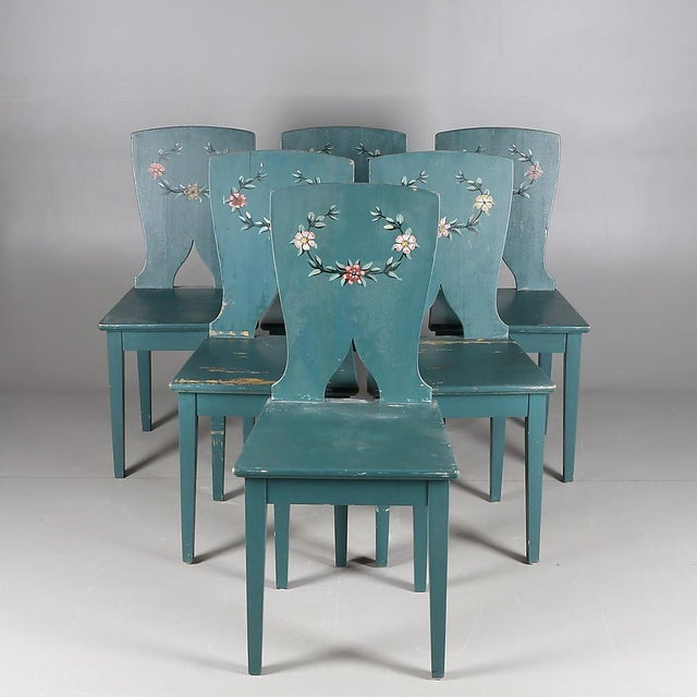 1900s Swedish Painted Kitchen Chairs - Set of 6 For Sale In Miami - Image 6 of 6