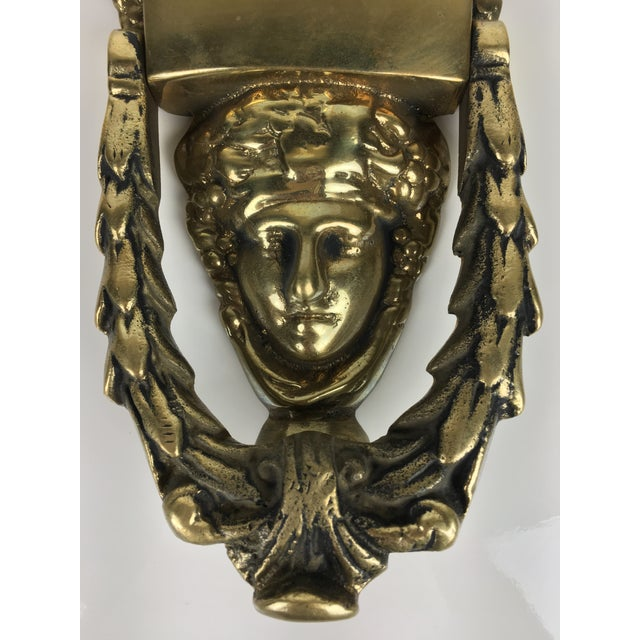 Vintage greek goddess door knocker in solid brass with engrave-able name plate. Solid and substantial in weight for many...