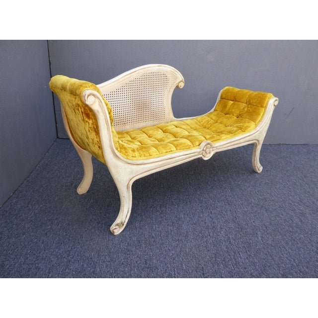 French Provincial White Cane & Gold Velvet Bench Settee For Sale - Image 4 of 11