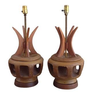 Rare Mid Century Plasto Co. Pair Lamp For Sale