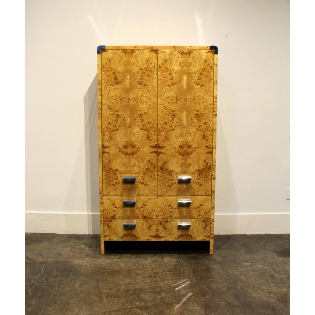 Mid Century Modern Burl and Chrome High Chest Wardrobe by Pace For Sale - Image 10 of 10