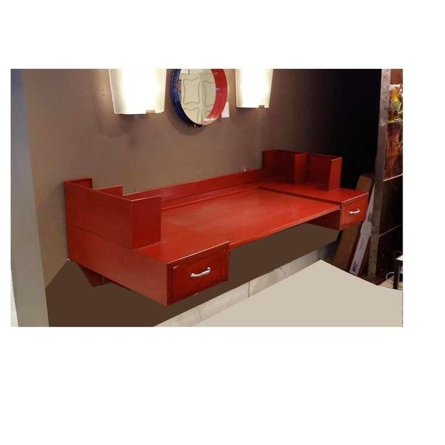 Metal Jean Prouve and Jules Leleu Metal Wall-Mounted Desk, France circa 1936 For Sale - Image 7 of 10