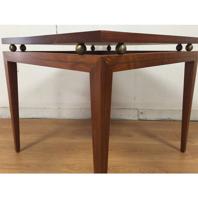 Mid-Century Solid Walnut & Brass Side Table - Image 6 of 11