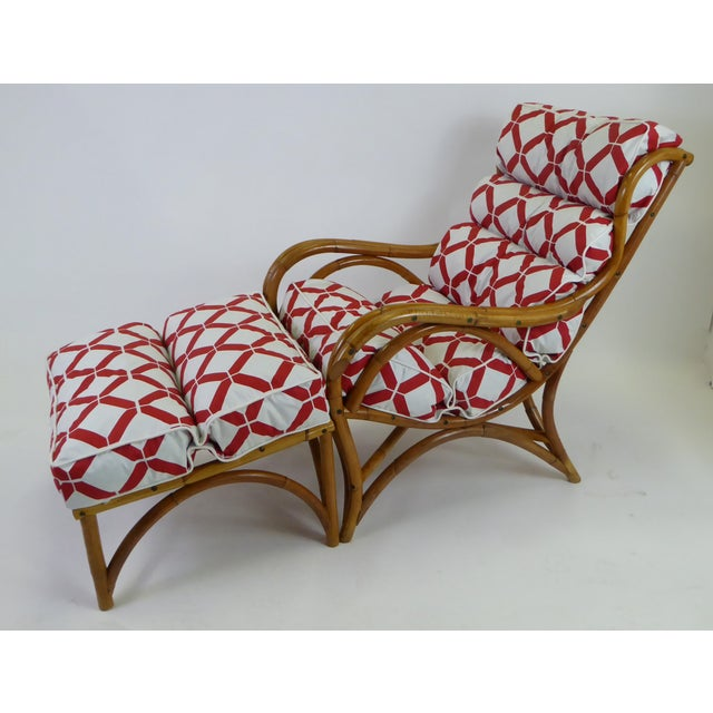 1940s Tropical Modern Rattan Lounge Chair and Ottoman For Sale - Image 13 of 13
