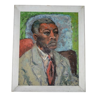 1960s Schmidt Oil Panting Portrait of African American Man For Sale