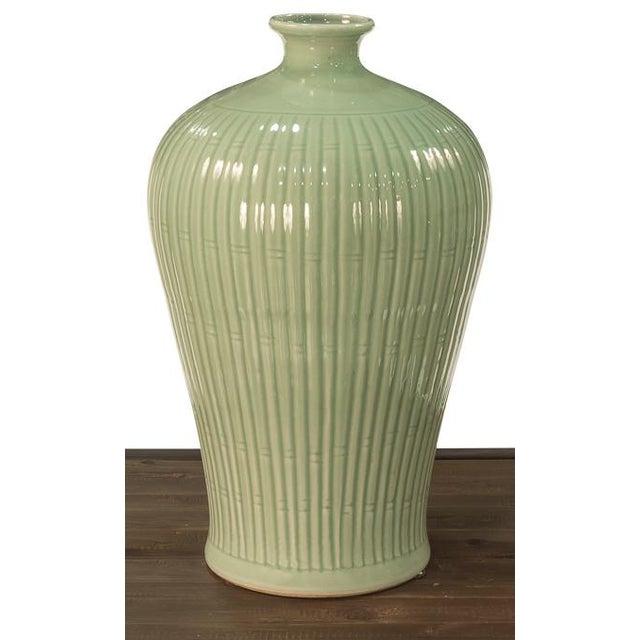 2010s Sarried Ltd Celadon Carved Bamboo Prunus Vase For Sale - Image 5 of 5