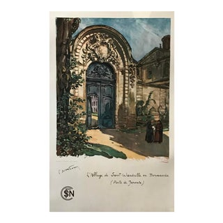 1938 Vintage French Travel Poster, Abbey of Saint Wandrille (Linen Backed) For Sale