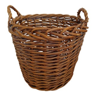 Hand-Woven Rattan Basket For Sale