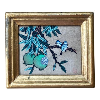 Early 20th Century Vintage Miniature Chinese Bird and Floral Gouache Watercolor Painting For Sale